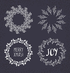 Christmas wreath drawn set vector