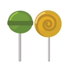 Two lollipop sweet dessert food colored vector