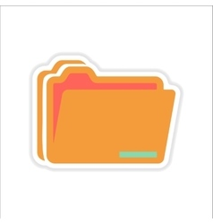 Paper sticker on white background folders for vector