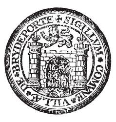 A seal representing the city of bridport england vector