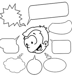 Black and white little boy with set of speech vector