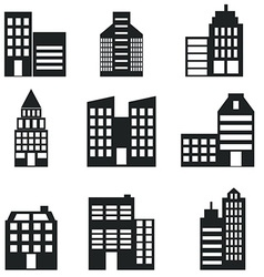 Buildings stores and home icon set vector image vector image