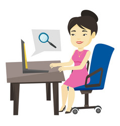 Business woman searching information on internet vector