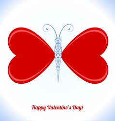 Butterfly with wings in the form of red hearts vector image