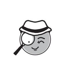 Detective cartoon face wear hat suspecting happy vector