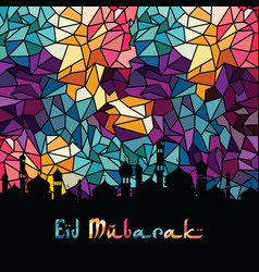 Eid mubarak greeting muslim islamic celebration vector