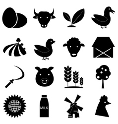 Farm icons set simple style vector image vector image