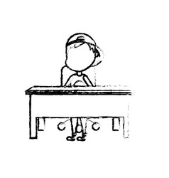 Figure boy student sitting in the wood desk vector