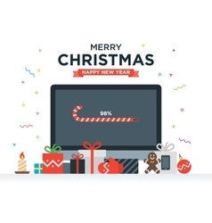 Geek Happy New Year and Christmas Card with vector image vector image