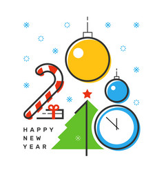 happy 2018 new year flat thin line vertical vector image