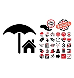 House under Umbrella Flat Icon with Bonus vector image vector image