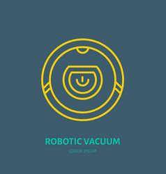 robotic vacuum cleaner flat line icon logo vector image