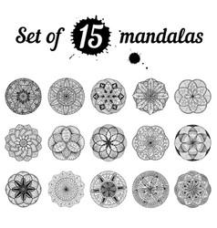 ser of 15 mandalas vector image vector image