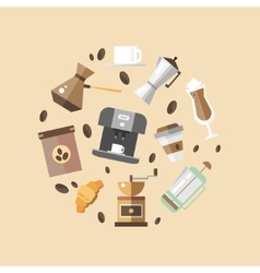 Set of coffee devices in flat style vector image vector image