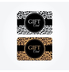 Set of gift or vip cards with trendy leopard vector