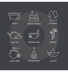 Spa thin line icons set on dark background vector
