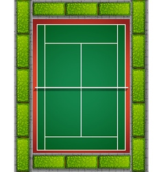 Tennis court with bushes around vector