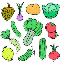 Vegetable set doodles design cartoon vector