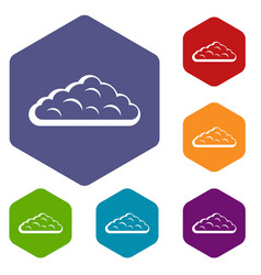 Wet cloud icons set hexagon vector