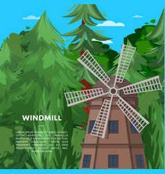 wooden old windmill on deep forest background vector image