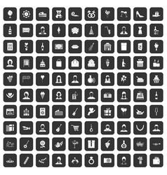 100 birthday icons set black vector