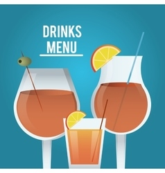 Cocktail orange glass summer alcohol icon vector