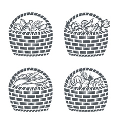 Baskets with sausages fruit vegetables and baker vector