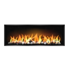 Wide firebox with stones inside vector
