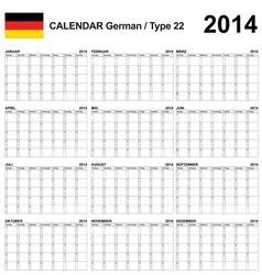 Calendar 2014 German Type 22 vector image