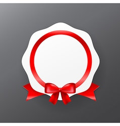 044 white badge banner with red ribbon eps10 vector
