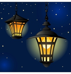 Night with light lanterns and stars easy editable vector