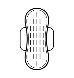 Feminine pad sanitary napkin flat linear icon of vector