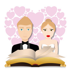Get married couple bible hearts background card vector