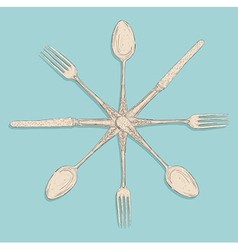 Retro cutlery design set vector