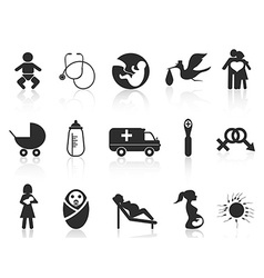 Pregnancy and newborn baby icons set vector