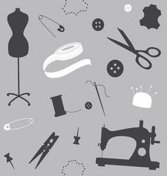 Silver seamless pattern with sewing machine vector