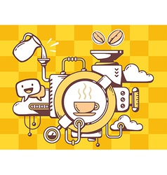Mechanism with coffee and relevant icons vector
