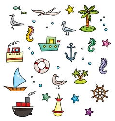 Nautical cartoon set vector
