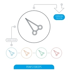 Pean forceps icon medical surgery tool sign vector