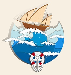 Ocean scene with sailboat vector