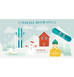Winter holidays winter sport ski resort icons vector