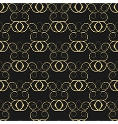 Gold pattern from curls on a black background vector