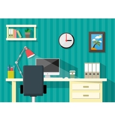 Modern home or business workspace desk papers vector