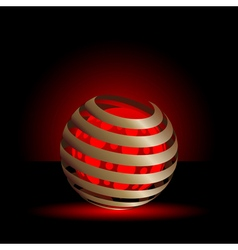 Gold spiral with red light balls background vector