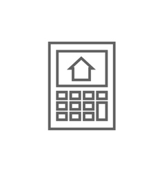 Calculator with house on display line icon vector image