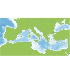 Mediterranean sea map vector