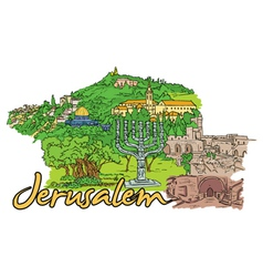 Jerusalem doodles vector