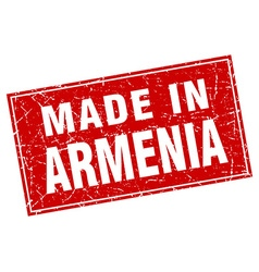 Armenia red square grunge made in stamp vector