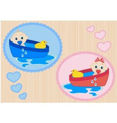Children bathe in the tub vector