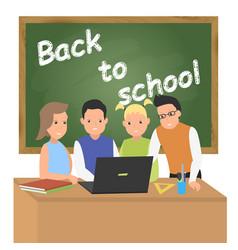 Back to school concept schoolchildren at the vector